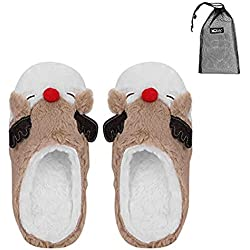 Zapatillas Invierno Estilo dibujos animados Niedlich Pantuflas alce mujer mujeres Slippers peluche Home Indoor Peluche Guantes transpirable Fieltro Pantuflas suave Animales Zapatillas/gemütlich