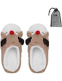 Pantofole invernali calde cartoon carine pantofole stile alce per donna  Slippers in peluche casa indoor peluche 7a34e8e4f5c