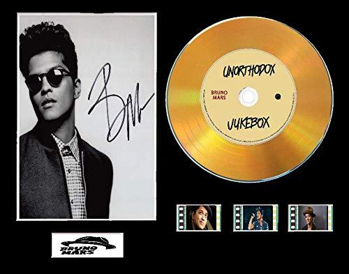 Bruno Mars CD-Display mit Vinyl-Effekt, Schwarz oder Gold Disc und 3 Filmzellen, Ungerahmt Layout 1, Gold Disc, Unorthodox Jukebox Unframed (Unorthodox Jukebox-vinyl)