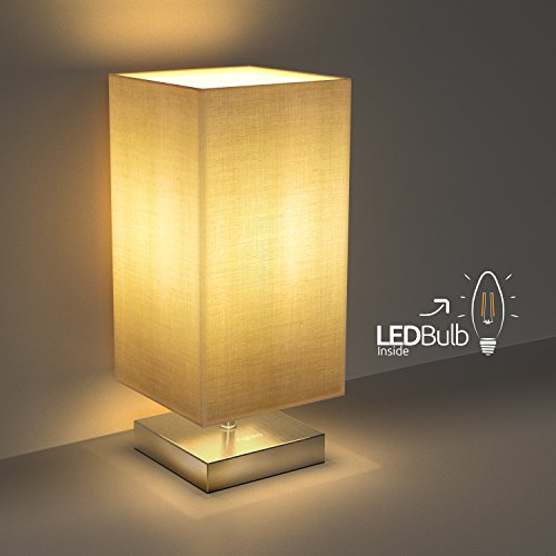Nachttischlampe, Aglaia Minimalist Stoff Schreibtischlampe, Metall Nachttischlampe mit Stoffschirm für Schlafzimmer, Wohnzimmer, Couchtisch, Büro (LEDBirneenthalten)