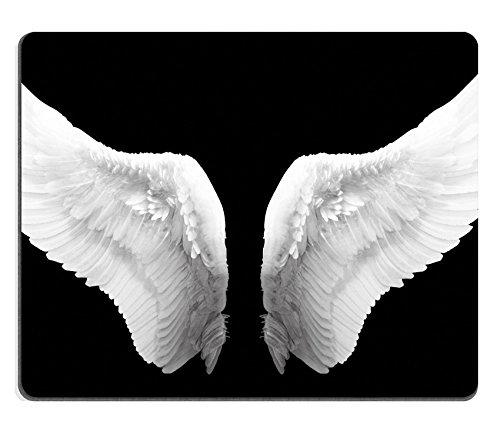 Preisvergleich Produktbild Liili Mauspad Naturkautschuk Mousepad Bild-ID: 23076386weiß Engel Flügel in Schwarz Farbe Hintergrund