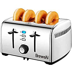 Brewsly Toaster 4 Scheiben 1700 Watt, Ultra breiter Schlitz (4.2cm) mit Auftaufunktion, Aufwärmfunktion, Herausziehbare Krümelschublade, Glatter Edelstahl mit Lebensmittelqualität, Silber