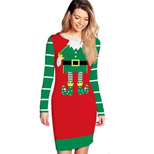 CHENGYANG Donna Collo Rotondo Vestito Natale Maniche Lunghe Slim Abito di Partito Cocktail Vestiti Rosso#14