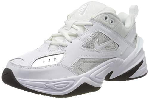 Nike Damen W M2k Tekno ESS Leichtathletikschuhe, Mehrfarbig (White/White/Metallic Silver/Black 100), 38 EU