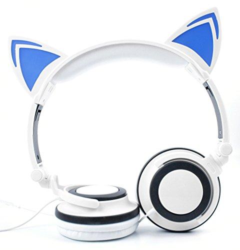 DURAGADGET Für Samsung Galaxy S9 | S9+ | S9 Plus Smartphone (G960F / G965F): Kopfhörer Katzen-Design Blau-Weiß mit verstellbaren Bügeln und weichen Ohrmuscheln