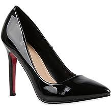 Stiefelparadies Damen Spitze Pumps mit Pfennigabsatz Lack Metallic Flandell d136ea77a2
