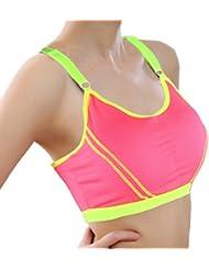 Culater® Yoga Mujeres Deportes pecho abrigo Correa Chaleco Tops Sujetador (Rosa Fuerte)