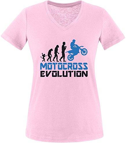 EZYshirt® Motorcross Evolution Damen V-Neck T-Shirt Rosa/Schwarz/Blau