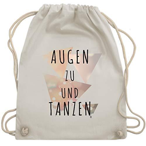 Shirtracer Festival Turnbeutel - Augen zu und tanzen - schwarz - Unisize - Naturweiß - WM110 - Turnbeutel und Stoffbeutel aus Bio-Baumwolle