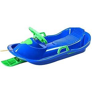 ZYT 2-Sitzer Ski Racer-Rodel Mit Differential Lenkung System Und Tief Graben Bremse Rodelschlitten (Blau, Rosa, Rot)