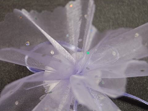 Chocolate Organza Tulle Bonbonniere Circles Lavender with Glitter Dots Silver Pack of 50