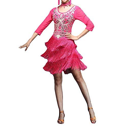 LULUVicky-WMDress Latin Dance Dress Frauen Funkelnde Pailletten Blume mit Fransen Flapper Latin Dance Kleid halben Ärmel Quasten Ballsaal Dancewear Tanzparty Wettbewerb Leistung Kostüme
