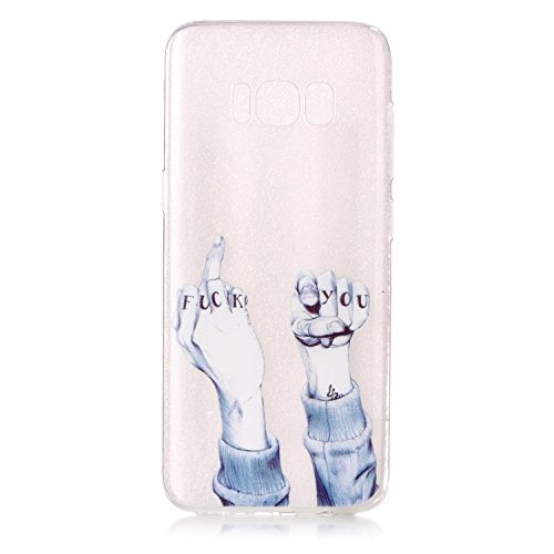 FESELE Silikon Handy Hülle für [Samsung Galaxy S8], Durchsichtig Ultradünn TPU Handytasche für Samsung Galaxy S8 Bunt Malerei Muster Transparente Schutzhülle Weiches Silikon Tasche Hüllen Rückschale S Finger Geste