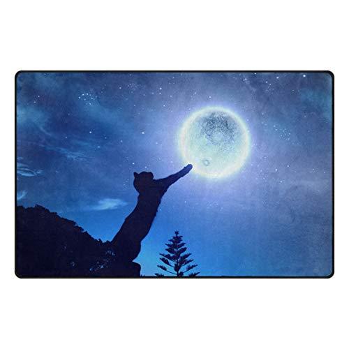 Emoya-Teppich, Schwarze Katze im springenden Mond, Galaxie, Esszimmer, Teppich, Schlafzimmer, Fußmatte, 50 cm x 78 cm, Textil, Multi, 50x78cm (2' x 3'feet) -