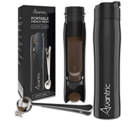 Travel Mug with French Press | Fully Leakproof and Portable Cafetiere for Ground Coffee | Vacuum Insulated, Stainless Steel Flask | Black