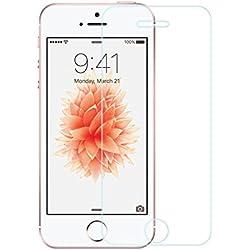 EasyAcc Film Protecteur d'Ecran pour iPhone 5S/ 5/ 5C/ iPhone SE, Invisible HD en Verre Trempé pour iPhone SE 5 5S 5C Sans Bulles Anti-rayures Dureté 9H