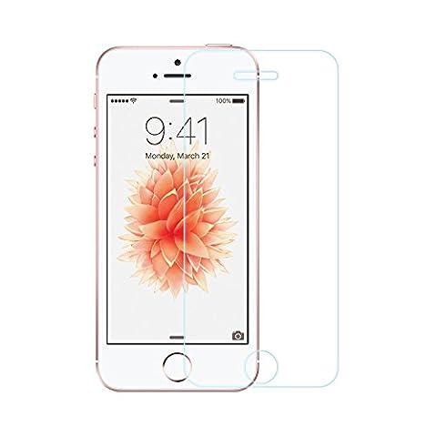 EasyAcc iPhone SE/5S/5C/5 3D Touch Glas Folie Schutzfolie Glas Panzerfolie Displayschutzfolie Glas - 9H Hardness aus gehärtetem Glas (bewusst kleiner als das Display, da dieses gewölbt ist)