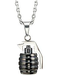 4a839a4ed192 Collar de acero inoxidable de granada colgante de estilo militar para  hombre (plata) 54