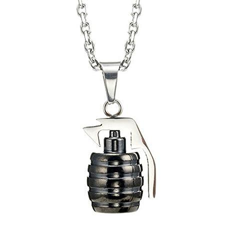 """Collier et pendentif style grenade militaire acier inoxydable pour hommes chaîne 54 cm/21"""" (argenté)"""