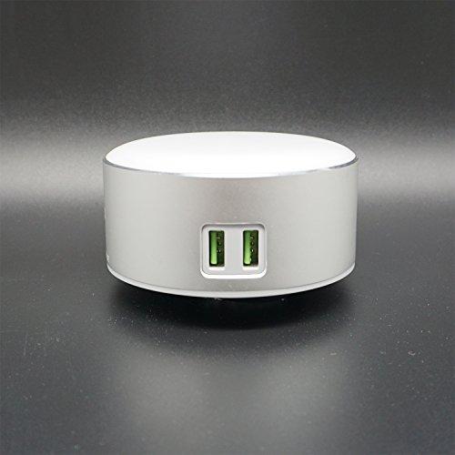 Luce notturna, luce sul comodino, controllo touch, tre luminosità, 2 porte di ricarica USB, può caricare telefoni cellulari e tablet(argento)