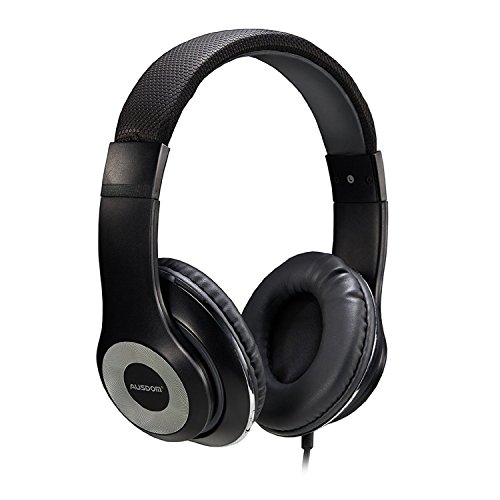 Ausdom F01 Kopfhörer Hi-Fi Stereo On-Ear Kopfhörer Ohrhörer mit Mikrofon 3.5mm-Anschluss Gaming Headset für PC, Desktop, Laptop, Tablet, iPhone 6s/6s Plus/6/SE/5s/5/4, Samsung Huawei Kinder Smartphone Headphone(Schwarz)