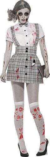 Zombie Schulmädchen Kostüm Uniform unheimlich Halloween Kostüm UK Größe 10-14 ()