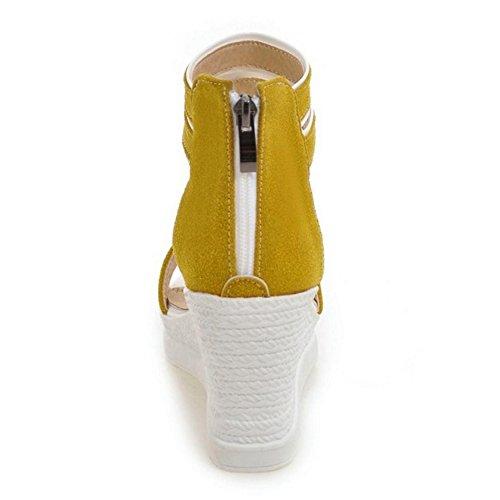 TAOFFEN Damen Gemutlich Keilabsatz Sandalen Sommer Schuhe mit Rei?verschluss Gelb
