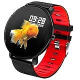Montre Intelligente Bluetooth Smartwatch Sport Smart Bracelet connectée Etanche Fitness Trackers d'activité avec Écran Tactile (Red)