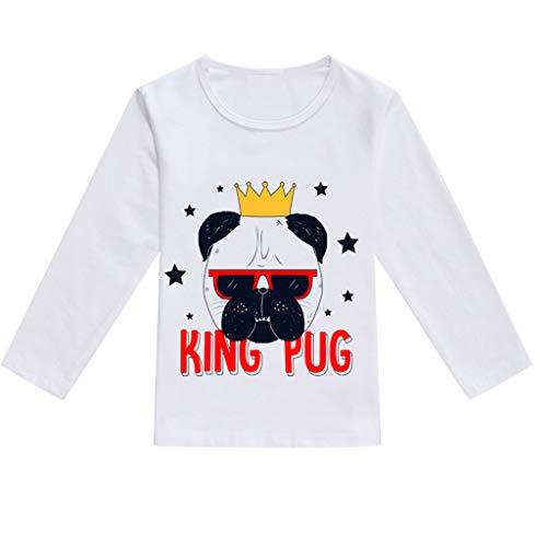feiXIANG Mädchen Junge T-Shirt Kleinkind Kleidung Karikatur Tier Drucken Atmungsaktiv Weich Blusen Langarm (Schwarz,120)