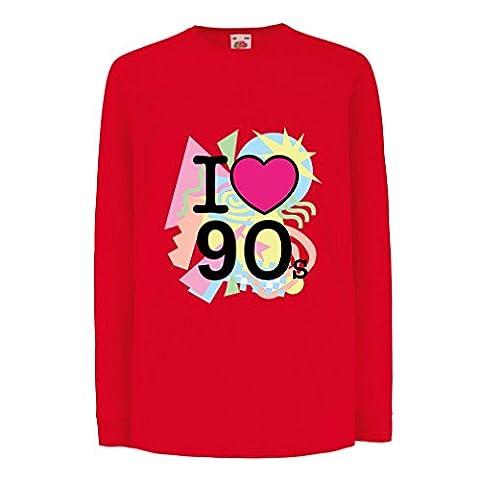 T-shirt pour enfants avec des manches longues I Love 90's! - retro style clothing (9-11 years Rouge Multicolore)