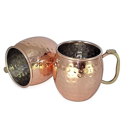 Dungri India ® À la main La meilleure qualité 100% pure Copper Mug pour Moscow Mules 550 ML / 18 oz, Set of 2, Copper Plating Stainless Steel Meilleure qualité