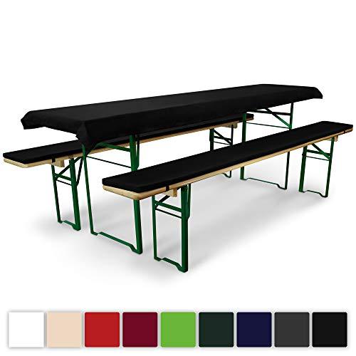 Standard-möbel-poster (Beautissu Comfort XS gepolsterte Bierbank-Auflage & Tischdecke für Bierzeltgarnitur - 3-TLG. Set für 50cm Tische - Schwarz & weitere Farben)