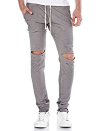 Red Bridge Herren Destroyed Jogginghose Pant Stone Grau