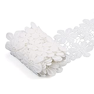 Allwin Lace Trim Decorated Embroidered 3 Yard Floral Micro Fiber Lace Edging for DIY Sewing Craft (White Flower B)