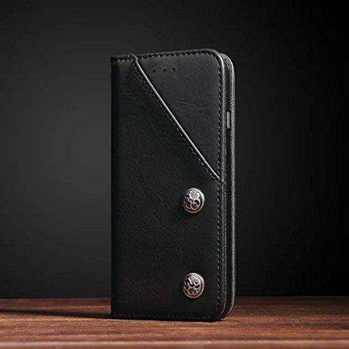 iPhone 6S Hülle, Fraelc® iPhone 6 Lederhülle Vintga Slim Flipcase [Magnet & Klappbar] Tasche im Buchstyle Handyhülle für iPhone 6/6S mit Kartenfach Leder Etui - Blau Schwarz