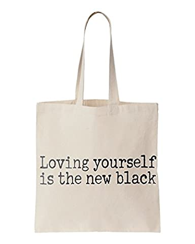Loving yourself is the new black printed Tote bag