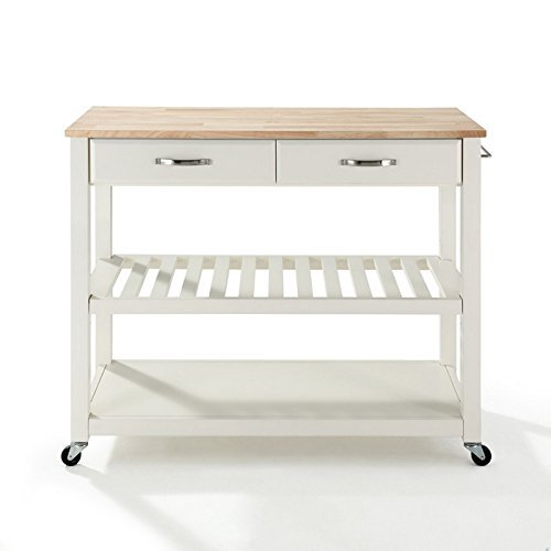 Crosley Furniture Natural Wood Top Kitchen Cart/Island with Optional Stool Storage in Classic Cherry Finish by Crosley Furniture -