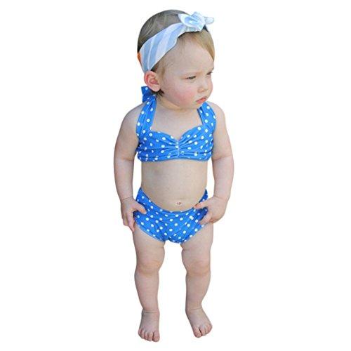 Amlaiworld mädchen sommer Geschenke party Bademode baby locker Punktdruck Bikini set niedlich Kleinkind prinzessin süße Schwimmen badeanzüge , 0-5 Jahren (2 Jahren, Blau)