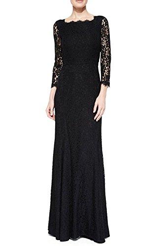 hanluckystars-vestido-de-noche-largo-encaje-elegante-con-3-4-mangas-para-mujer-negro-azul