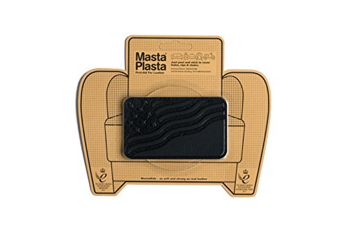 Black MastaPlasta Self-Adhesive Leather Repair Patches. Choose size/design. First-aid for sofas, car seats, handbags, jackets etc. (BLACK FLAG 10cmx6cm) (Kit Home Flag)
