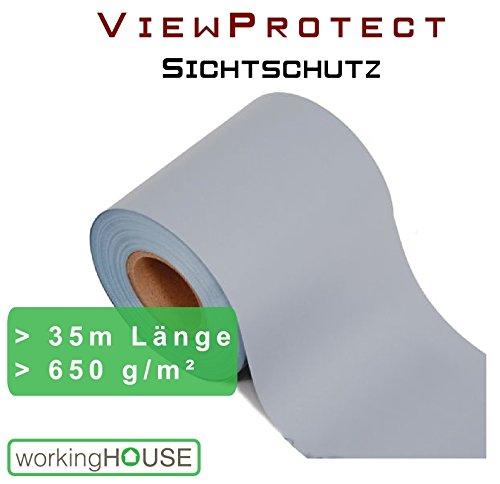 Sichtschutzstreifen VIEWPROTECT PREMIUM - HELLGRAU 650 g/qm, Zaunfolie 35m x 19 cm, hochwertig stabil blickdicht, original workingHOUSE