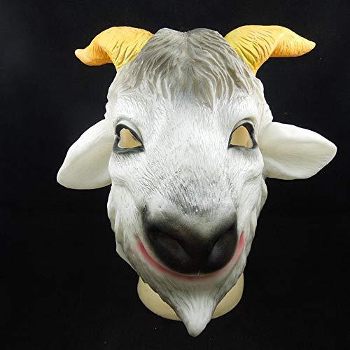 LMYG Halloween Maske, Ziege Schaf Kopf Maske Schaf Kopf Maskerade Tier Kopfbedeckung Horror Witziges Halloween Kostüm Party Kinder Und Erwachsene,ewe (Ziege Kostüme Für Erwachsene)