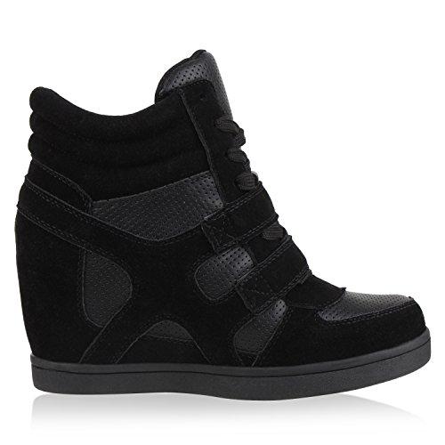 Sportliche Damen Basic Sneaker-Wedges Bequeme Sneakers Keilabsatz Schwarz