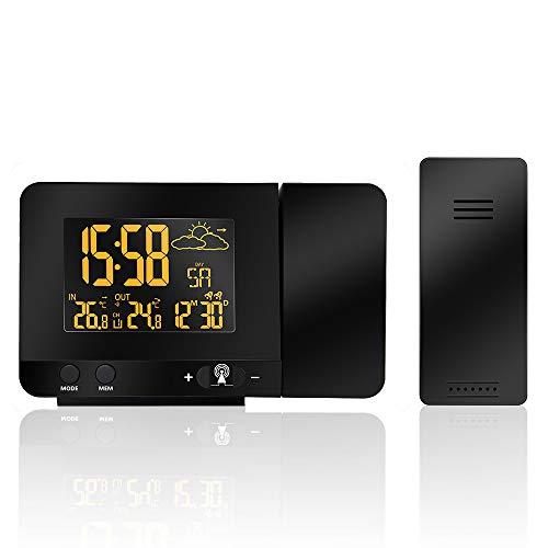 LED Digitaler Projektionswecker Funk-Wetterstation Projektionsuhr mit Datum Doppelalarm-Schlummerfunktion -