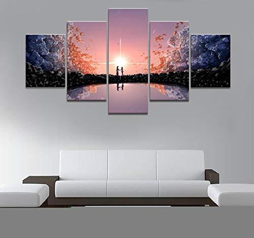 FYBSNDY 5 Panel Jungen Und Mädchen Bewegen Comics Wohnzimmer Wandbilder Dekorative Malerei Bild Arbeitet Poster 40X60Cmx2 40X80Cmx2 40X100Cmx1 Kein Rahmen
