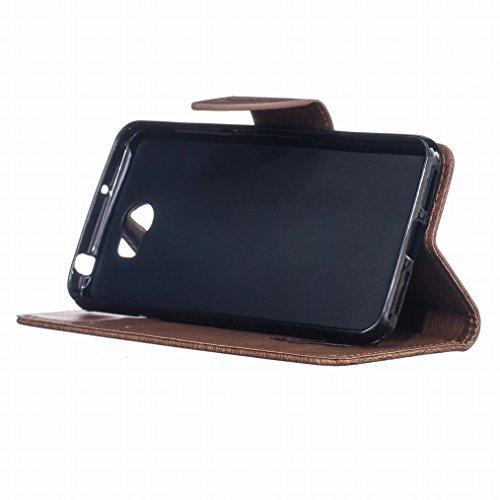 LEMORRY Huawei Y5 2 Custodia Pelle Cuoio Flip Portafoglio Borsa Sottile Fit Bumper Protettivo Magnetico Chiusura Standing Card Slot Morbido Silicone TPU Case Cover Custodia per Huawei Y5 2 (Huawei Y5I Marrone