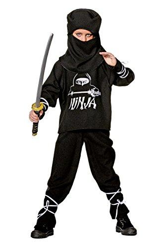 Jannes - Ninja Kostüm Kinder, Schwarz mit Kapuze 140