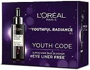 L'Oréal Paris Youth Code Ferment Pre-Essence(30 Ml) + Super Liner Super Star Duo Designer - Black (0.65g),