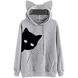 Luckycat Mujer Gato de Manga Larga Sudadera con Capucha Blusa Tops Jersey