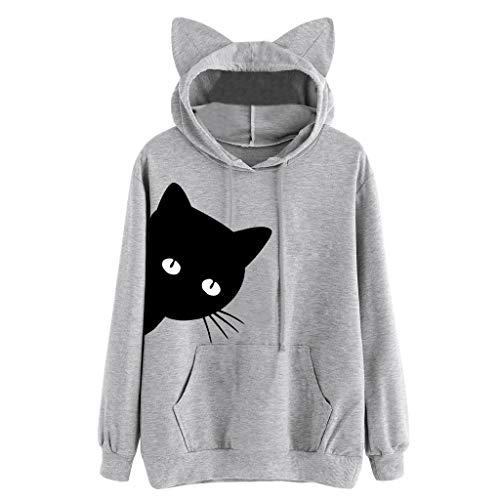 POPLY Kapuzenpullover Hoodie für Damen Süß Katze Drucken Langarm Tunnelzug Sweatshirt Tunika Tops mit Katzenohrform Damen Jugendliche T-Shirt (Grau,M) (Ralph Lauren Polo 1 4 Pullover)